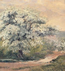 """Apple Blossoms at Olana,"" by Frederic Church, May 1870, oil on canvas, 11 5/8 x 18 ¼ inches, Olana State Historic Site, OL.1981.23"
