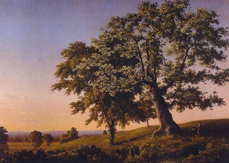 "The Charter Oak, Hartford, OL.1981.16.jpg CROPPING INSTRUCTIONS: no need to crop CAPTION: ""The Charter Oak, Hartford"" by Frederic Church, early 1846, oil on canvas, 22 1/8 x 30 1/8, Olana State Historic Site, OL.1981.16"