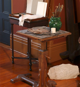 Frederic Church's easel stand and paint box, in the studio of the main house.  Photograph by Andy Wainwright.