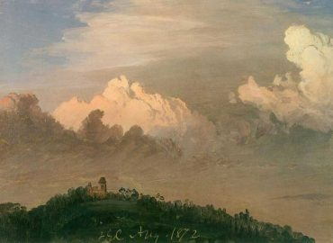 """""""Clouds Over Olana"""" by Frederic Edwin Church,  August, 1872, oil on off-white paper, 8 11/16 x 12 1/8 inches, Olana State Historic Site,  OL.1976.1"""