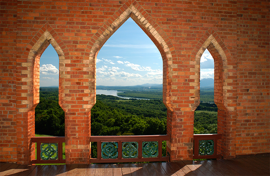 View of the Hudson River and Catskills, from the Bell Tower at Olana. Photo credit: Andy Wainwright, 2004