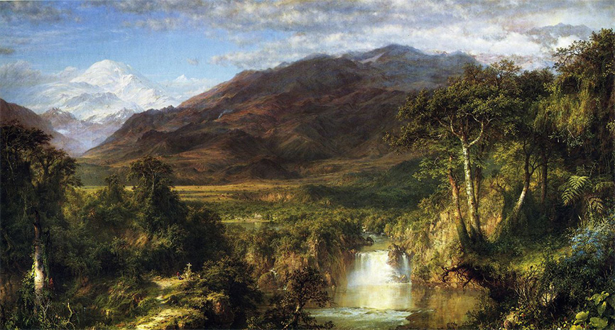 """Heart of the Andes"" by Frederic Edwin Church, 1859, oil on canvas, 66 1/8 x 119 ¼ inches, Metropolitan Museum of Art)"
