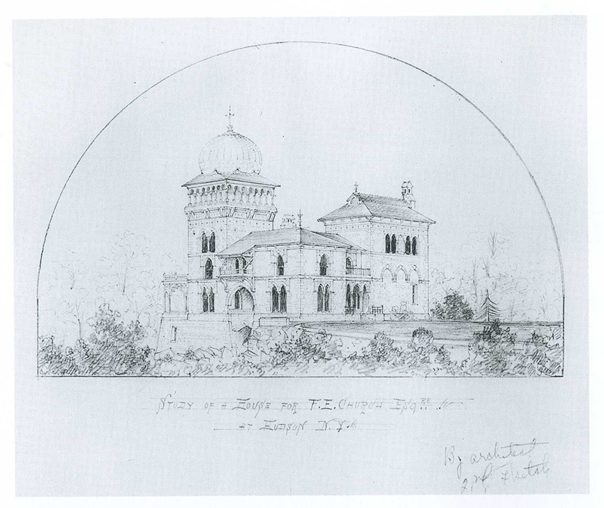 "Study for a House for F. E. Church, Esq. at Hudson, N.Y."" by Calvert Vaux, Olana State Historic Site,"