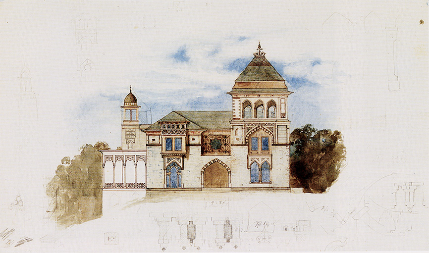 Sketch of the main house at Olana, by Frederic Edwin Church,