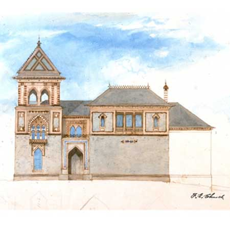 """Frederic E. Church, """"East Facade, Main House, Olana,"""" c. 1870, watercolor, ink, and graphite on paper, 14 11/16 x 21 7/8 in., OL.1980.41 (Collection Olana State Historic Site, New York State Office of Parks, Recreation and Historic Preservation)"""