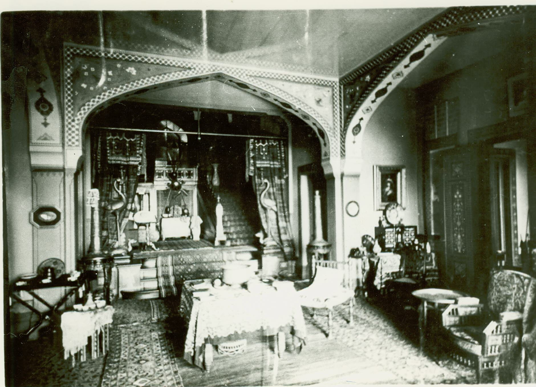 """Robert and Emily de Forest, """"Court Hall, Main House at Olana,"""" October 11, 1884, albumen print, 6 x1/4 x 8 3/8 in., OL.1986.378.28a (Collection Olana State Historic Site, New York State Office of Parks, Recreation and Historic Preservation)"""